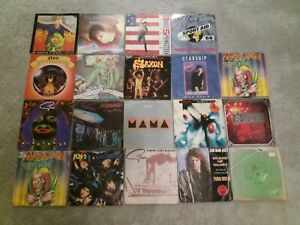 "Job Lot 19 X 7"" Rock Singles From The 80s - Kiss - Bon Jovi - Genesis - Saxon"