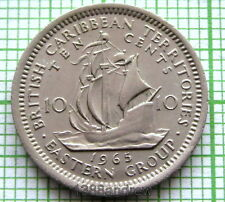 BRITISH CARIBBEAN TERRITORIES ELIZABETH II 1965 10 CENTS, SAILING SHIP, UNC