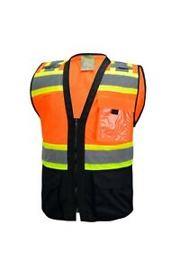 Surveyor Black/ Orange Two Tones Safety Vest, ANSI/ ISEA  Photo ID Pocket