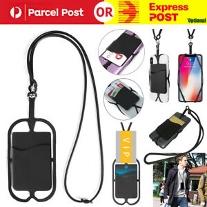 """Neck Lanyard Strap Cell Phone ID Card Holder Fits 4""""-6.2"""" Universal Silicone"""