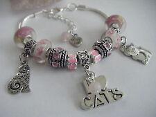 PINK 'Love My Cats' Hearts Charm Bracelet Cat/Cats Soft Kitty Crazy Cat Lady!!