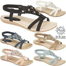 Ladies Wedge Sandals Womens Strappy Heels Summer Evening Gladiator Flat Shoes