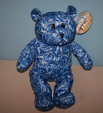 "15"" Blue Floral Rose Print Teddy Bear Stuffed Plush by Kuddle Me Toys Kelly Toy"