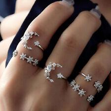5 Pcs/set White Topaz Zircon Bohemian Geometric Silver Women Jewelry Ring SJ020