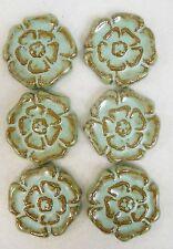 Rosette Tiles Handmade Ceramic Stoneware Art Craft Tiles Turquoise Stone Set / 6