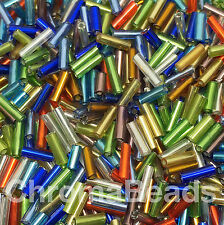 50g glass bugle beads - Mixed Silver-Lined - approx 6mm tubes, craft