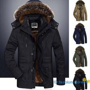 Plus Size Mens Fur Collar Hooded Jacket Warm Thicken Fleece Coat Parka Outwear