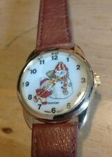 Vintage Snowman and Boy ladies watch, running new battery NR L