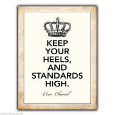 Métal Signe Plaque Murale garder tes talons & normes haute Coco Chanel Citation Poster