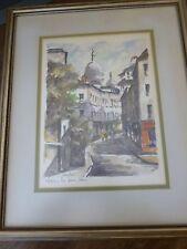 Vintage Paris-set of 2 Watercolor Prints-Signed-Framed-Notre Dame/Sacre Coeur