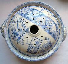 Ravier de toilette bol pour éponge, céramique décor bleu, Creil Gien Lunéville