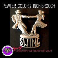 """""""JJ"""" Jonette Jewelry Silver Pewter 'Dance Swing Mystic' Brooch Pin"""