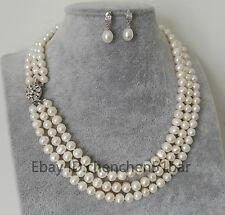 Schöne 3 Reihe kultivierte 7-8mm Weiß Süßwasser perle halskette Ohrringe set