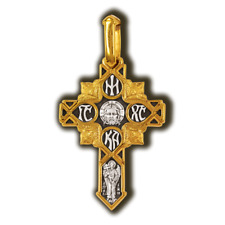 08158 Guardian angel. Chrisma. Orthodox cross. Silver 925 Gold Plated 999