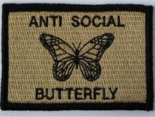 VELCRO® BRAND HOOK Fastener ANTI-SOCIAL Butterfly Coyote Patches 3x2""