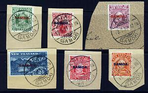 SAMOA 1914 Overprinted Set APIA 18th. Sep 1914 CXLS SG 115 to SG 121 ON PIECE