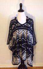 BELLE DU JOUR Black Tribal Print Poncho Shirt / Womens Size Medium M