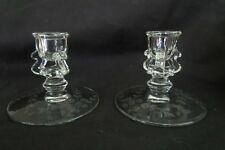 Pair US Glass no 348 Candleholder Crystal with wheel etching