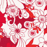 Accent on Color   Cotton Fabric Fabri-Quilt Red  Floral  By the yard    BFab