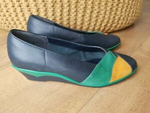RETRO VINTAGE VAN DAL WEDGE SHOES Navy Blue Green Real Leather UK 5 / 38 - VGC