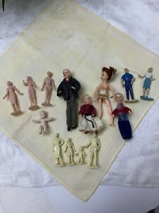 Vintage Lot MARX IDEAL Dollhouse 14 People 1960's Family Mom Dad Mother Father