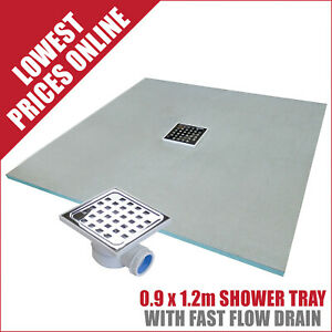 Showerlay Wetroom Shower Tray With Free Fast Flow Drain 0.9x1.2m
