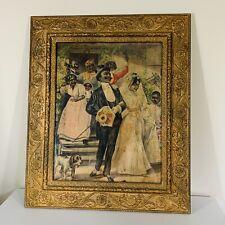 Antique Black Americana Folk Art Framed Wedding Party 23x28