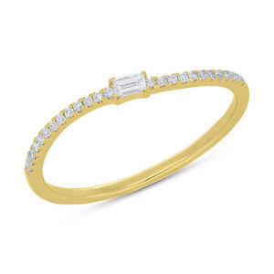 Womens 0.10CT 14K Yellow Gold Stackable Curved Band Diamond Dainty Fashion Ring