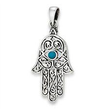 Sterling Silver Hand of Khamsa Fatima Hamsa Pendant Khasma w Synth Turquoise