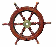 Nautical Wooden Ship Steering Wheel Pirate Decor Wood Brass Wall Boat Captain
