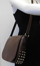 Gorgeous Spike Studs Brown Saddle Flap Crossbody Shoulder Bag Handbag Purse