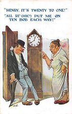 POSTCARD  COMIC   Drunk  Related   Henry  Clock  Wife....
