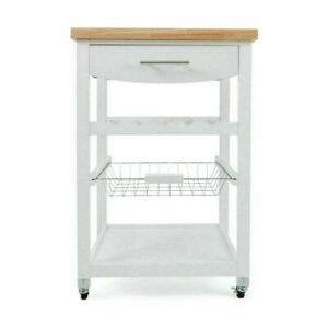 New Wooden Kitchen Utility Trolley Cart Drawer 2 Shelves Cabinet Rack White AU