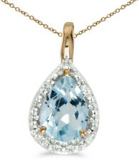 14k Yellow Gold Pear Aquamarine Pendant (Chain NOT included)