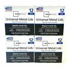 MAINSTAYS Metal Canning Lids Regular Mouth Size Jars - 48 LIDS - 4 Boxes