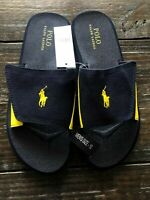 Ralph Lauren Polo ALIM Navy & Yellow Canvas Slides Slip On Sandals Shoes Mens 10