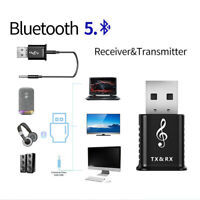 Bluetooth 5.0 Audio Transmitter Receiver USB Adapter For PC TV Car AUX Speaker