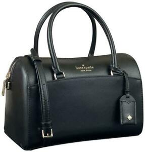 Kate Spade Devyn Medium Duffle Barrel Satchel Crosshatched Leather Black $340