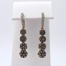 New 10k Gold 2ctw Mocha Champagne Diamond Flower Cluster Dangle Hoop Earrings