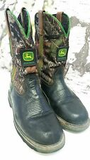 John Deere Men's sz 9 Wellington Black Leather with Mossy Oak Soft Western Boots