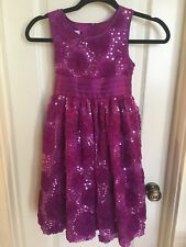 Bonnie Jean Girl's Purple/Fuschia Sleeveless Floral Sequin Formal Dress Size 8