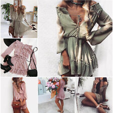 Womens Holiday Mini Playsuit Ladies Boho Jumpsuit Summer Beach Dress Size 6 - 16