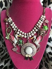 Betsey Johnson Walk In The Park RARE Pink Edition Stork Sun Hat Cloud Necklace