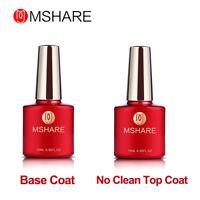 MSHARE 10ml Soak Off Base Coat No Wipe Top Coat UV LED Gel Nail Polish Kit Set