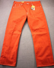 LEVIS 501 Men Orange Straight Leg Button Fly Shrink to Fit Denim Jeans NWT 34X30
