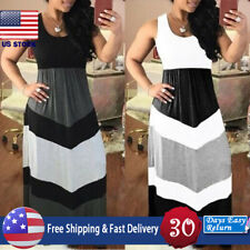 Women Color Patchwork Block High Waist Maxi Dress Party Sleeveless Evening Dress