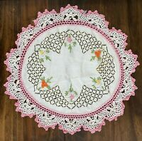 "Vtg Hand Embroidered Doily 12"" Round Pink Floral Dresser Scarf w Crocheted Edge"