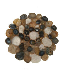 Brown Agate Table Top, Natural Agate Table, Brown Agate Table, Flower Shape Deco