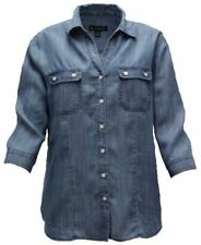 N Touch Tencel Medium Wash Blouse Shirt Tunic   Size  3X    3199