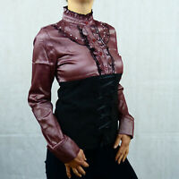 Steampunk Victorian Gothic Cotton Longsleeve Corset Diamonds Shirt 8 10 12 14 16